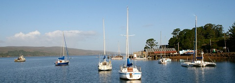 moored vessels in Tomales Bay