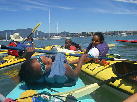 Summer Campers Kayaking