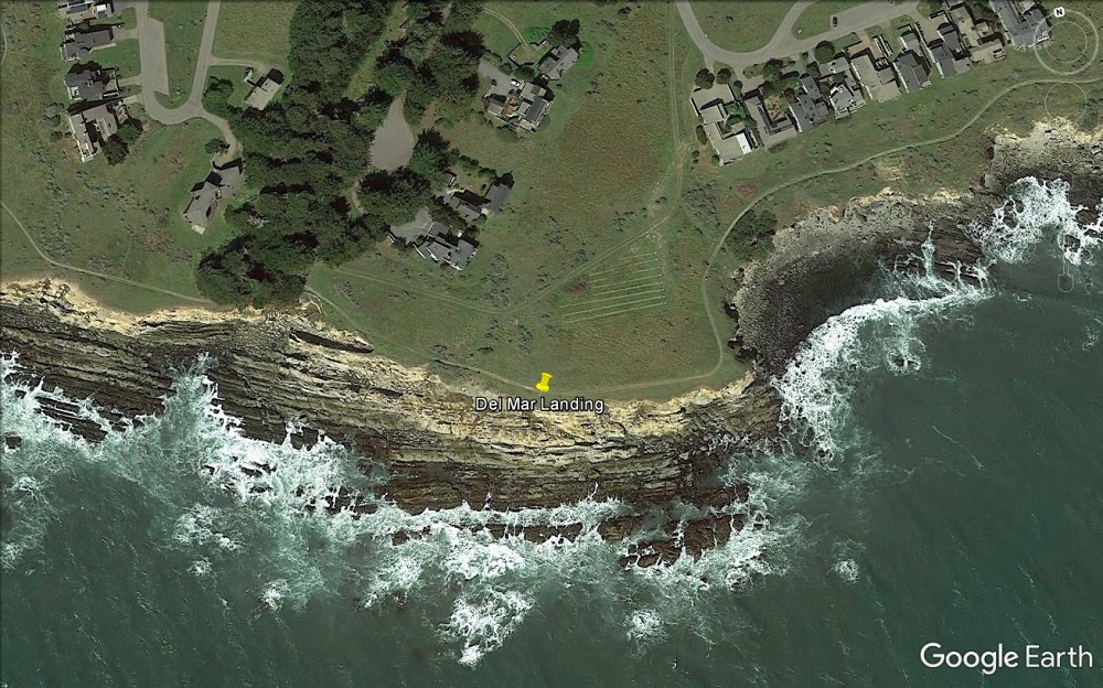Aerial photograph of doghole port location at Fisk Mill