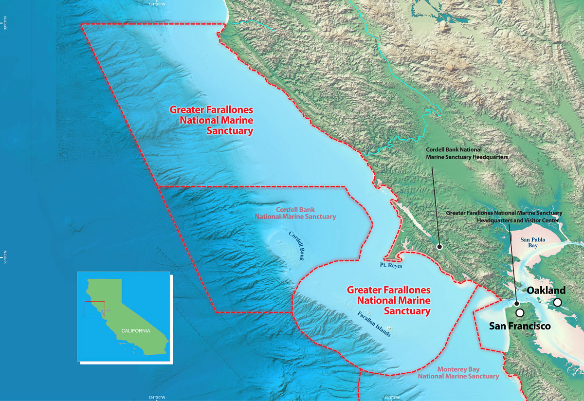 map showing the boundaries of the greater farallones and cordell bank national marine sanctuaries