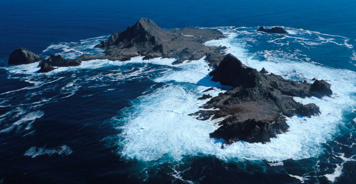 An aerial perspective of the South Farallon Islands