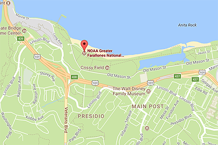 google map with a pin on the location of the Greater Farallones Visitor Center, Santa Cruz, CA