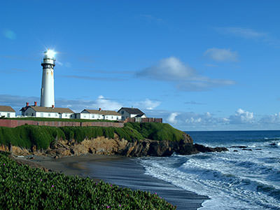 view of Pigeon Point Light Station from a distance