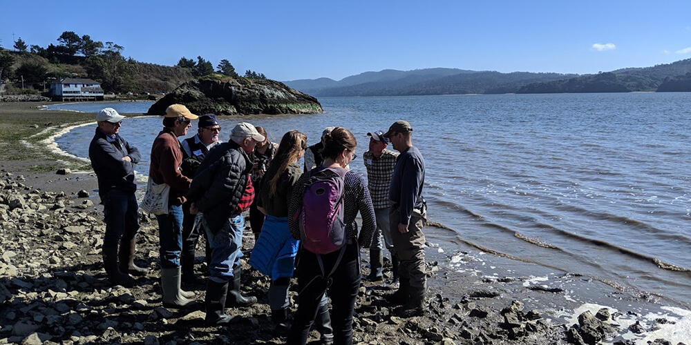 A group of people gathered on a rocky beach