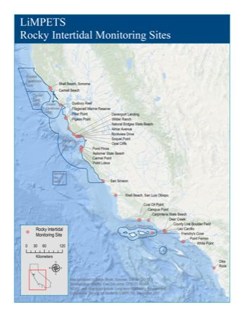 map of LiMPETS Sandy Beach Monitoring Sites
