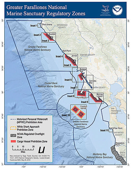 This maps shows all regulatory zones within Greater Farallones National Marine Sanctuary