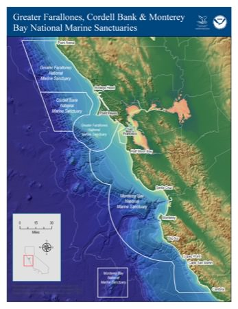 map of Three contiguous national marine sanctuaries off the central California coast